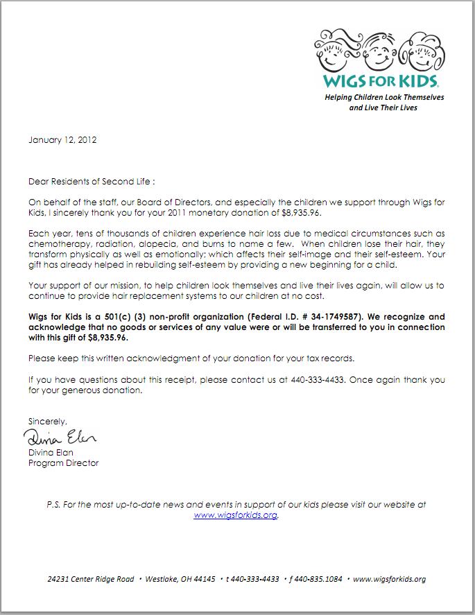 Dear Residents Letter From Wigs For Kids 2011