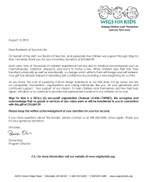 Second Life Letter receipt from Wigs for Kids 2012