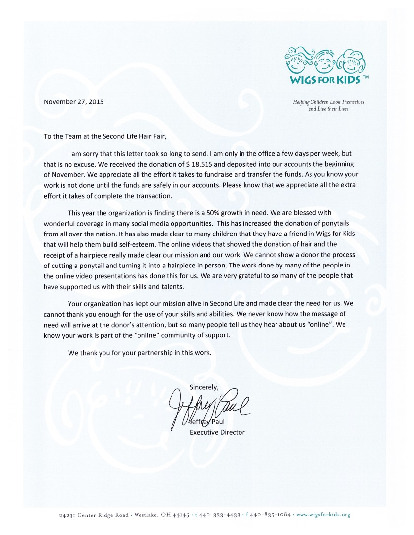 Wigs for Kids Thank You Letter 2015