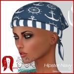 Hair Fair - Bandana Ad Hipster Navy by Sasy Scarborough