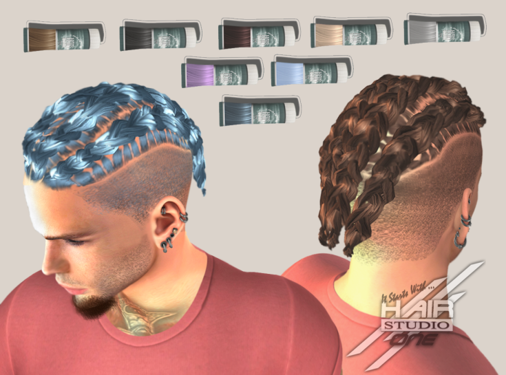DQ...Male Cornrows Braids SHORT ( FATPACK ) box
