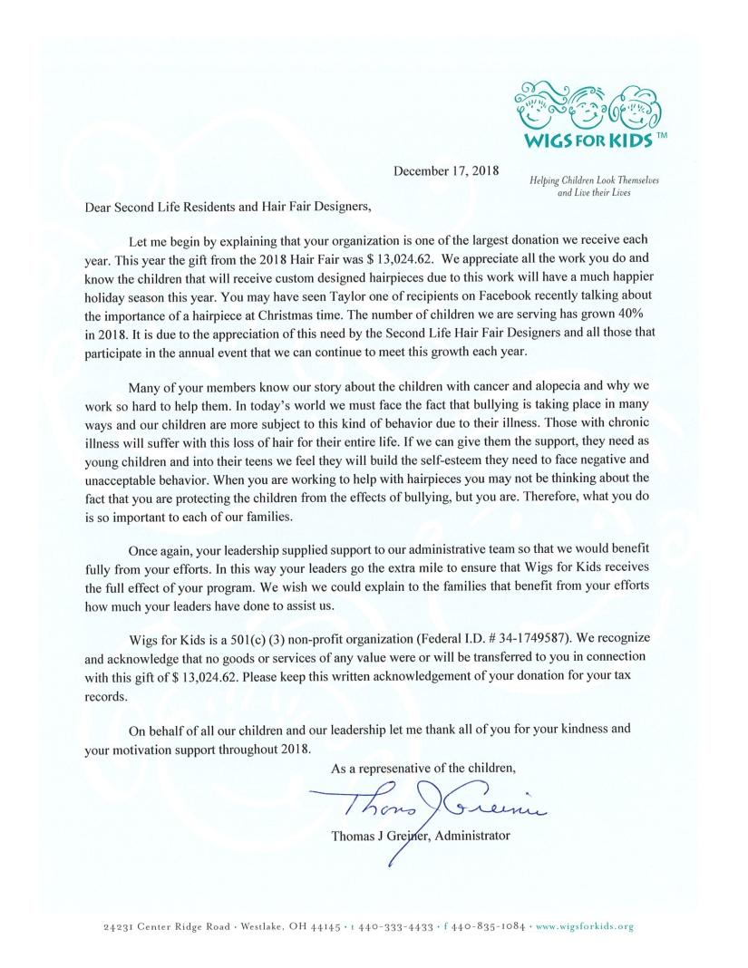 2018 Recognition Letter to Hair Fair -Dec 2018
